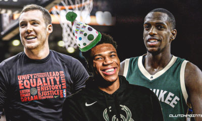 Khris Middleton, Pat Connaughton, Giannis Antetokounmpo, Bucks