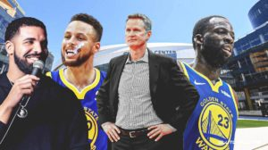 Stephen Curry, Drake, Draymond Green, Steve kerr