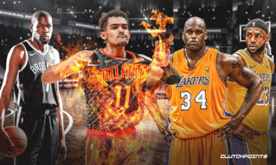 Trae Young, Kevin Durant, LeBron James, Shaquille O'Neal, Hawks