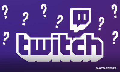 Twitch logo on purple background with lots of white question marks